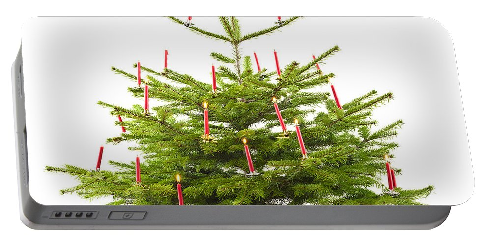 Advent Portable Battery Charger featuring the photograph Christmas Tree Decorated With Presents by U Schade