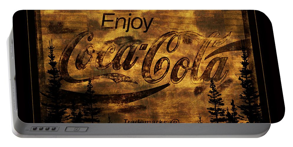 Coca Cola Portable Battery Charger featuring the photograph Coca Cola Wooden Sign by John Stephens