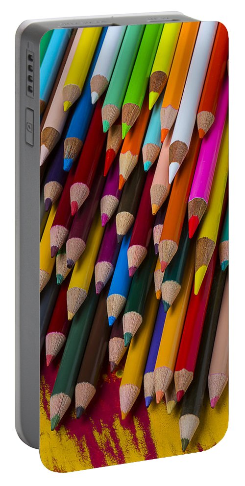 Colored Portable Battery Charger featuring the photograph Colored Pencils by Garry Gay