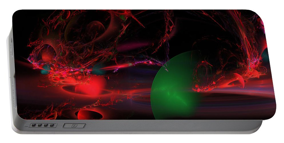 Red Portable Battery Charger featuring the photograph Computer Generated Spheres Abstract Fractal Flame Modern Art by Keith Webber Jr