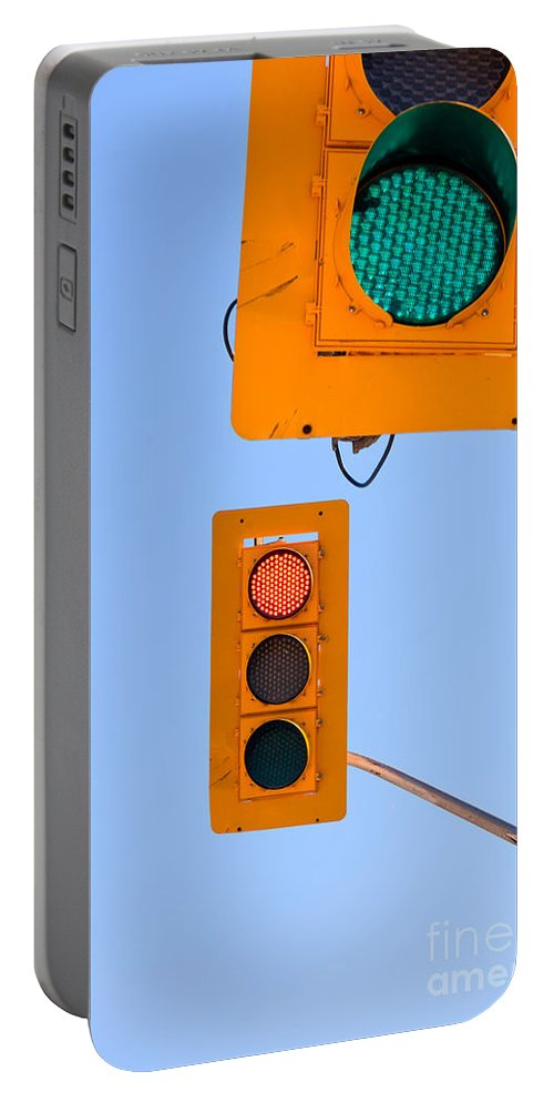 Blue Portable Battery Charger featuring the photograph Confusing Green Red Traffic Lights Sky Copyspace by Stephan Pietzko