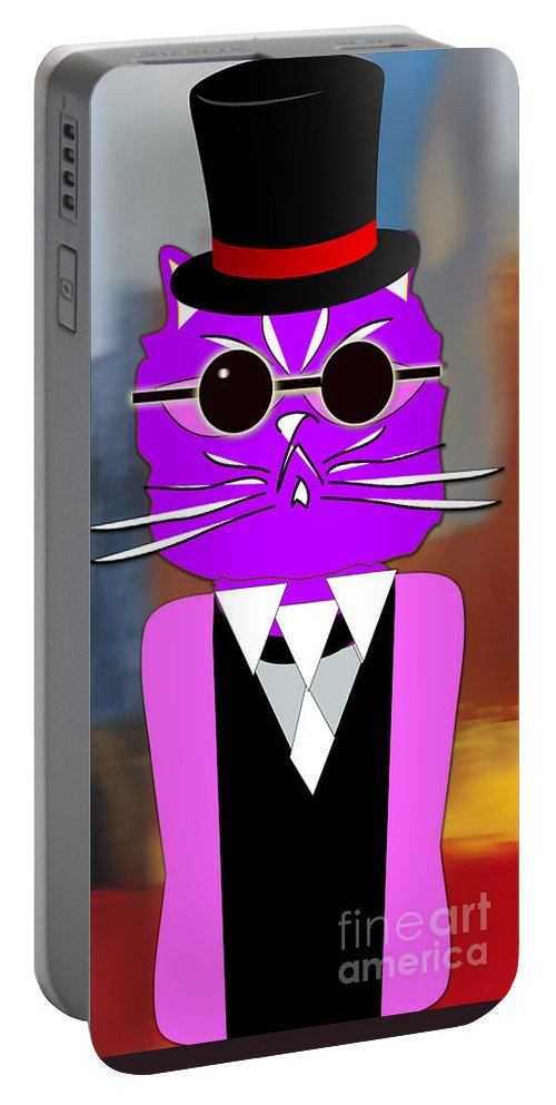 Kitten Paintings Mixed Media Portable Battery Charger featuring the mixed media Cool Cat by Marvin Blaine