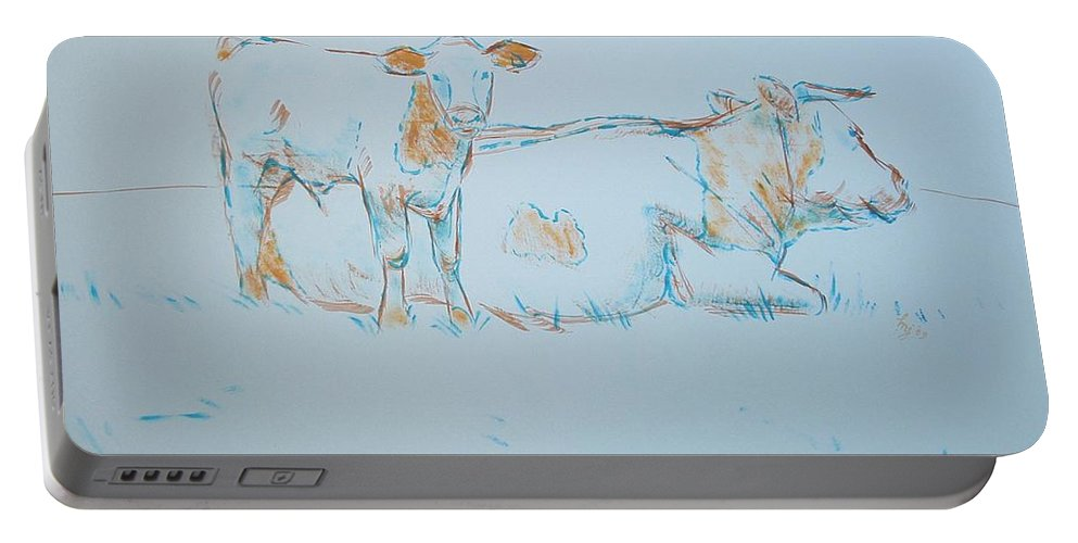 Mike Jory Cows Bulls Cattle Sheep Goats Horses Fields Countryside Farm Agriculture Rural Wildlife Nature Animal Herd Hills Hedges British Gloucestershire Animals Portable Battery Charger featuring the painting Cow Painting by Mike Jory