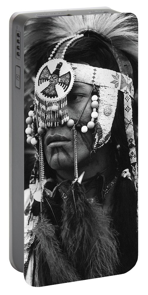 Crow Native American Traditional Dress Rodeo Gallup New Mexico 1969 Portable Battery Charger featuring the photograph Crow Native American Traditional Dress Rodeo Gallup New Mexico 1969 by David Lee Guss