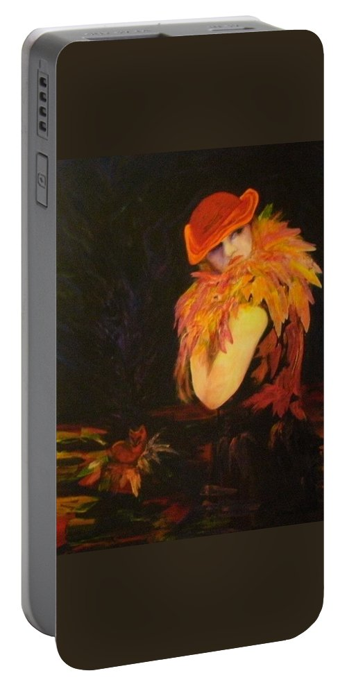 Women Portable Battery Charger featuring the painting Cunning As A Fox by Carolyn LeGrand