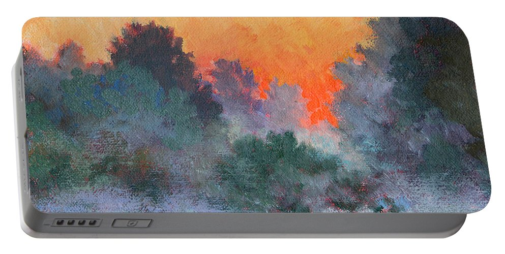 Impressionism Portable Battery Charger featuring the painting Dawn Mist by Keith Burgess