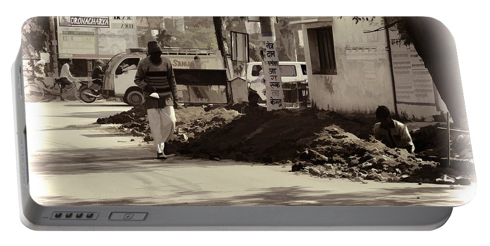 Banner Portable Battery Charger featuring the photograph Digging A Ditch At The Side Of A Road In Roorkee by Ashish Agarwal