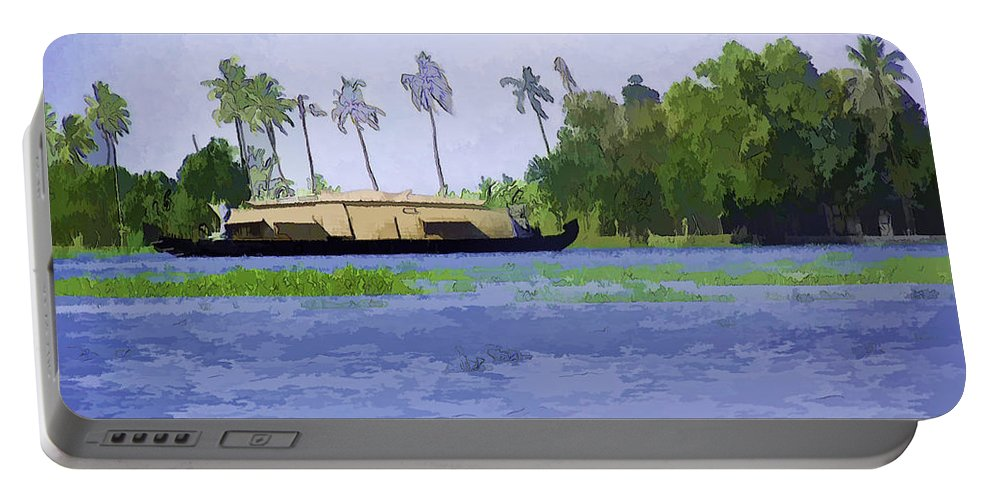 Backwater Portable Battery Charger featuring the digital art Digital Oil Painting - A Houseboat On Its Quiet Sojourn Through The Backwaters by Ashish Agarwal