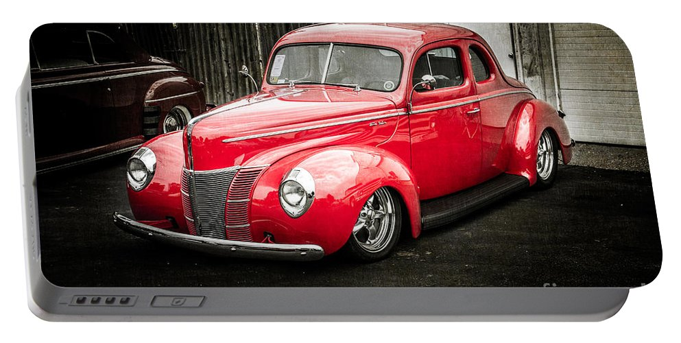 Car Portable Battery Charger featuring the photograph 2 Door Red by Perry Webster