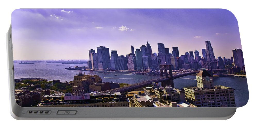 Dumbo Portable Battery Charger featuring the photograph Dumbo View Of Lower Manhattan by Madeline Ellis
