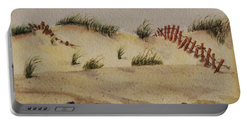 Sand Portable Battery Charger featuring the painting Dunes by Mary Ellen Mueller Legault