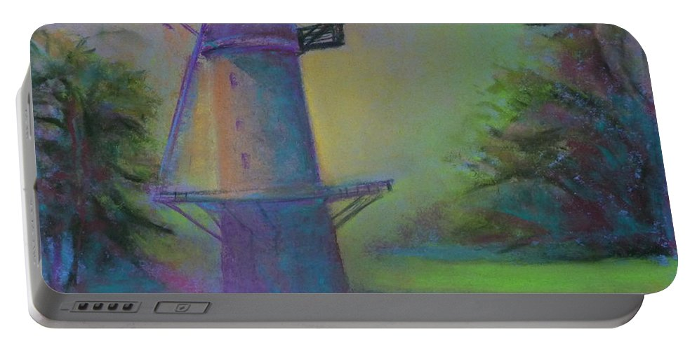 Landscape Portable Battery Charger featuring the painting Dutch Windmill 02 by Pusita Gibbs