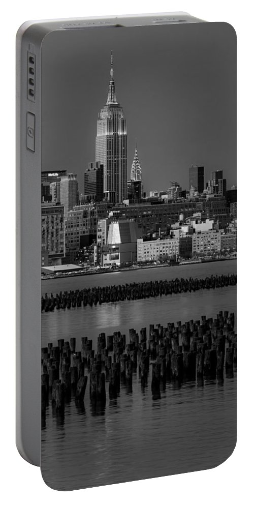 Esb Portable Battery Charger featuring the photograph Empire State Building Dressed Up In Pastels by Susan Candelario