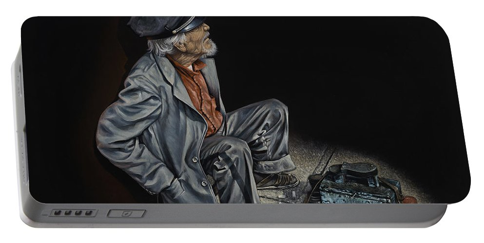Shoeshiner Portable Battery Charger featuring the painting Empty Pockets by Ricardo Chavez-Mendez