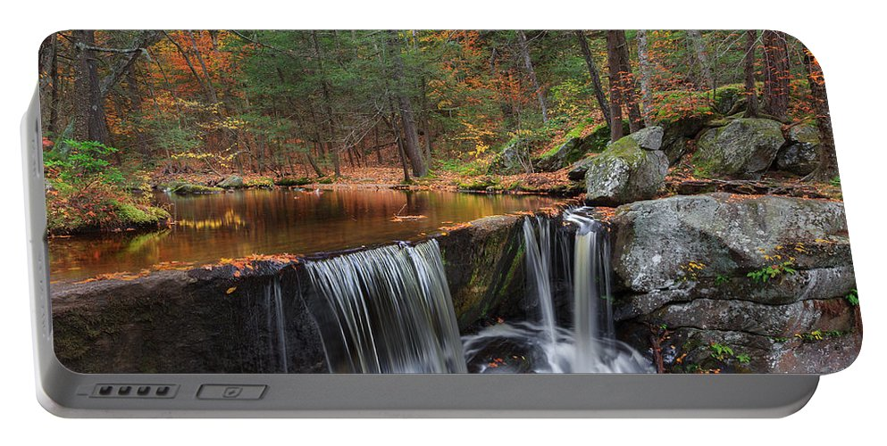 Autumn Waterfall Portable Battery Charger featuring the photograph Enders Falls by Bill Wakeley
