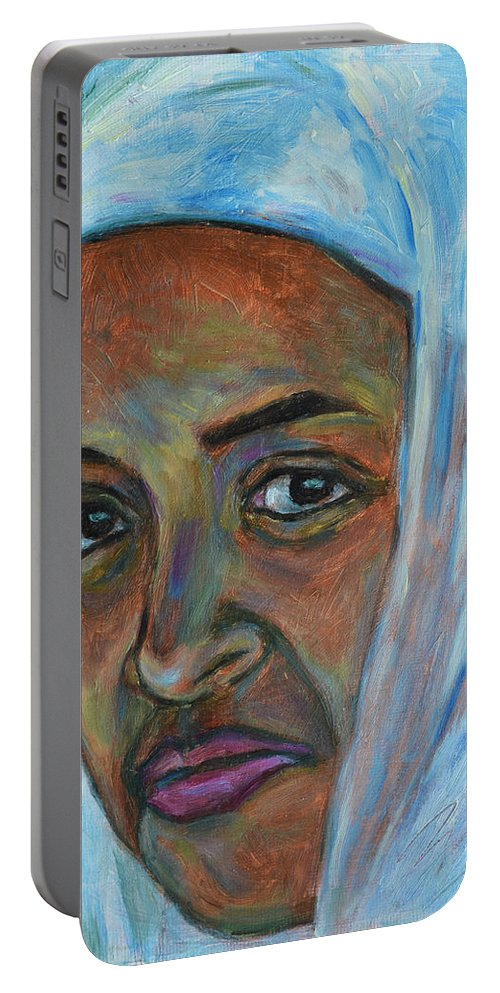 Ethiopian Portable Battery Charger featuring the painting Ethiopian Lady by Xueling Zou