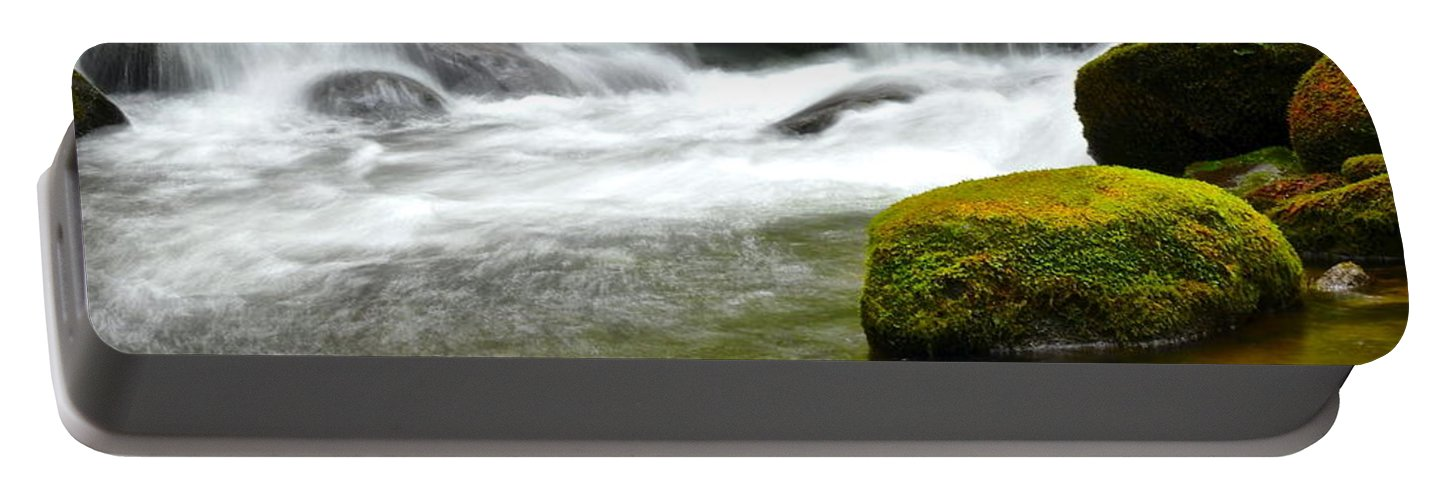 Smoky Portable Battery Charger featuring the photograph Falling Water by Frozen in Time Fine Art Photography