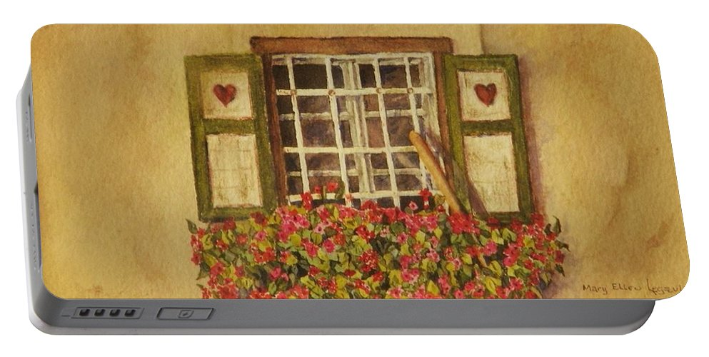 Rural Portable Battery Charger featuring the painting Farm Window by Mary Ellen Mueller Legault