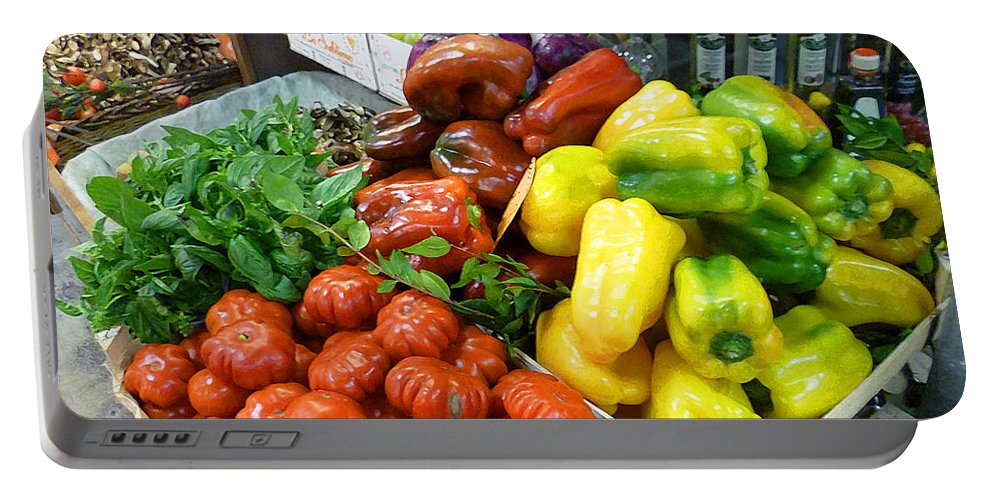 Tomatoes Portable Battery Charger featuring the photograph Farmers Market Florence Italy by Irina Sztukowski