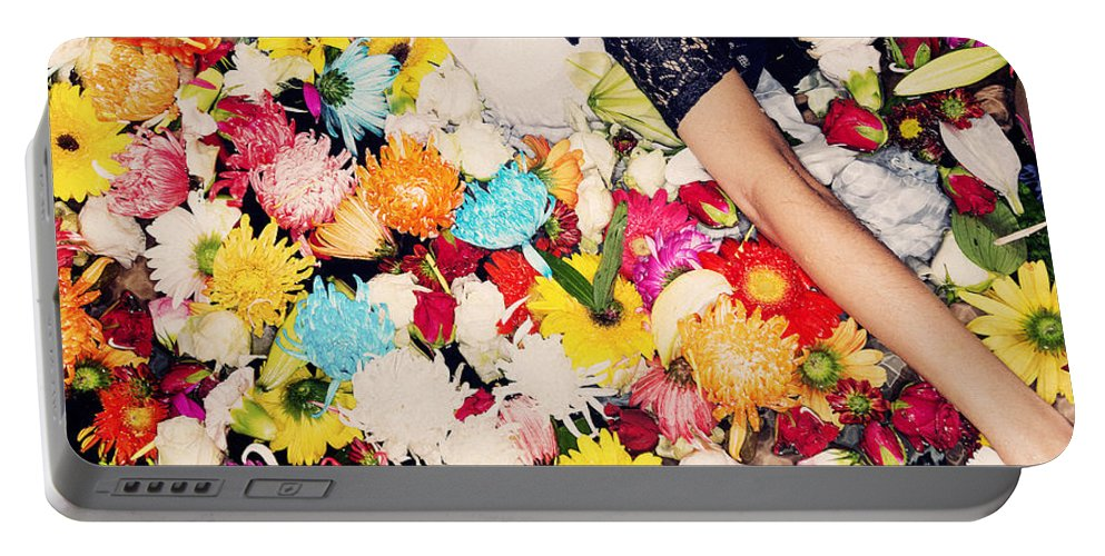 Bright Portable Battery Charger featuring the photograph Fashion Model Posing With Flowers by Jacek Malipan