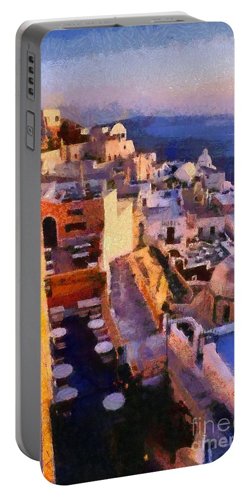 Santorini Portable Battery Charger featuring the painting Fira City During Sunset by George Atsametakis