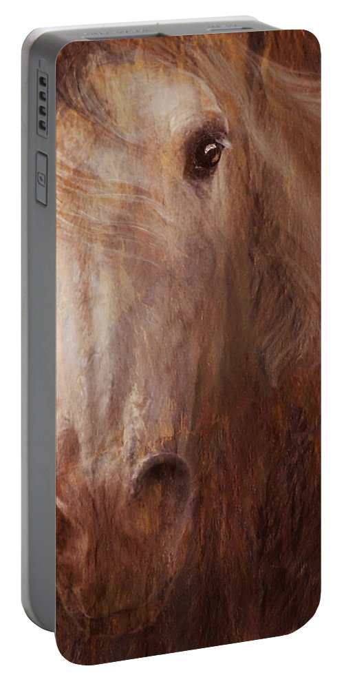 Digital Equine Art Portable Battery Charger featuring the photograph Fire And Ice by Melinda Hughes-Berland