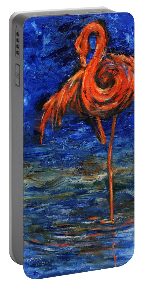 Flamingos Portable Battery Charger featuring the painting Flamingo by Xueling Zou