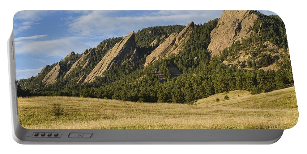 'boulder Photos' Portable Battery Charger featuring the photograph Flatirons With Golden Grass Boulder Colorado by James BO Insogna