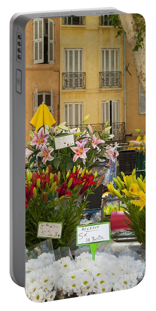 Aix Portable Battery Charger featuring the photograph Flowers At Market by Brian Jannsen