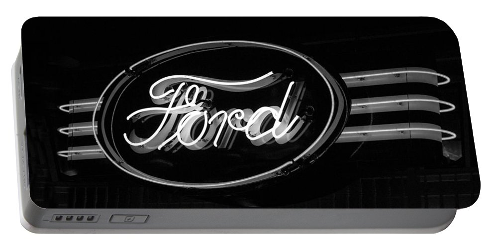 Ford Neon Sign Portable Battery Charger featuring the photograph Ford Neon Sign by Jill Reger