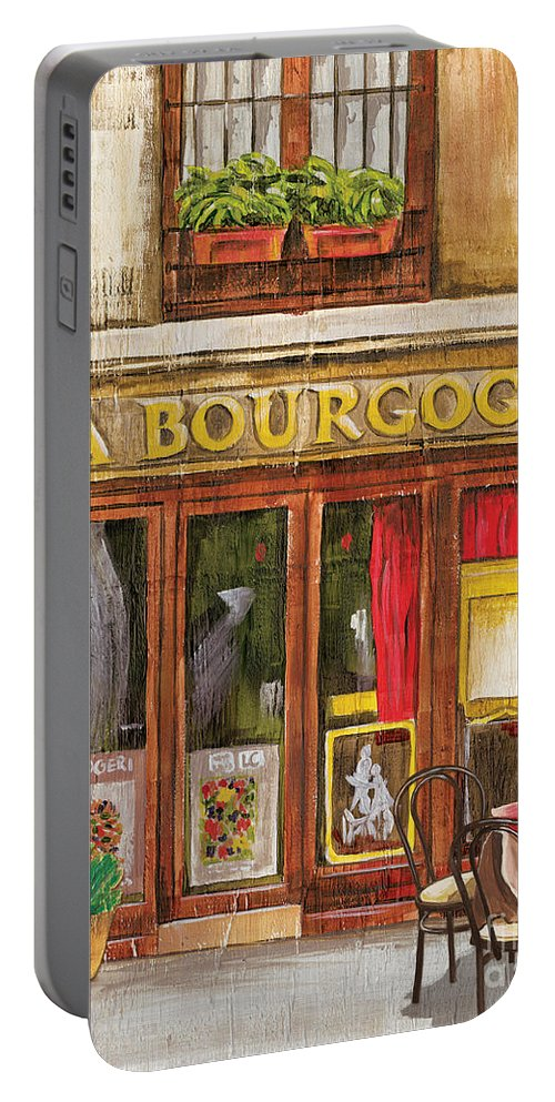 Restaurant Portable Battery Charger featuring the painting French Storefront 1 by Debbie DeWitt