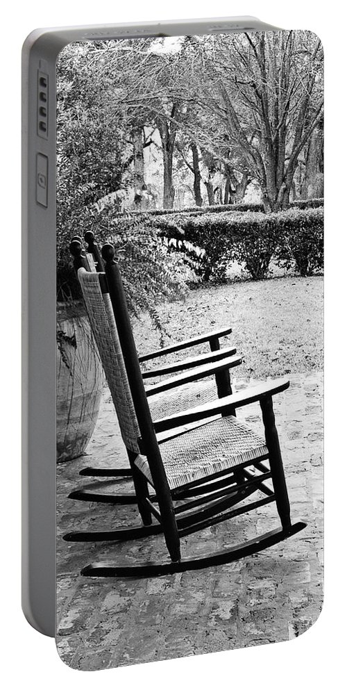Rocking Chair Portable Battery Charger featuring the photograph Front Porch Rockers - Bw by Scott Pellegrin