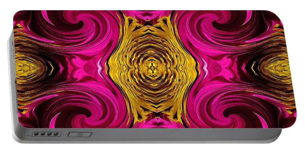 Sensation Portable Battery Charger featuring the painting Fuchsia Sensation Abstract by J McCombie