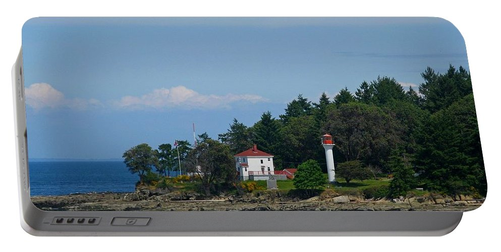 Mayne Island Lighthouse Portable Battery Charger featuring the photograph Georgina Point Light House On Mayne Island by Lena Photo Art