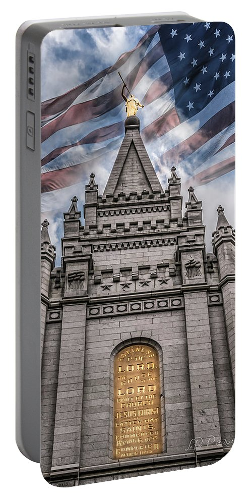 Lds Temples Portable Battery Charger featuring the photograph God Bless America by La Rae Roberts
