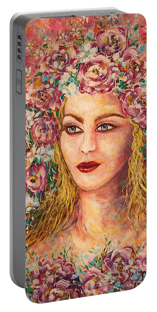 Goddess Portable Battery Charger featuring the painting Good Fortune Goddess by Natalie Holland