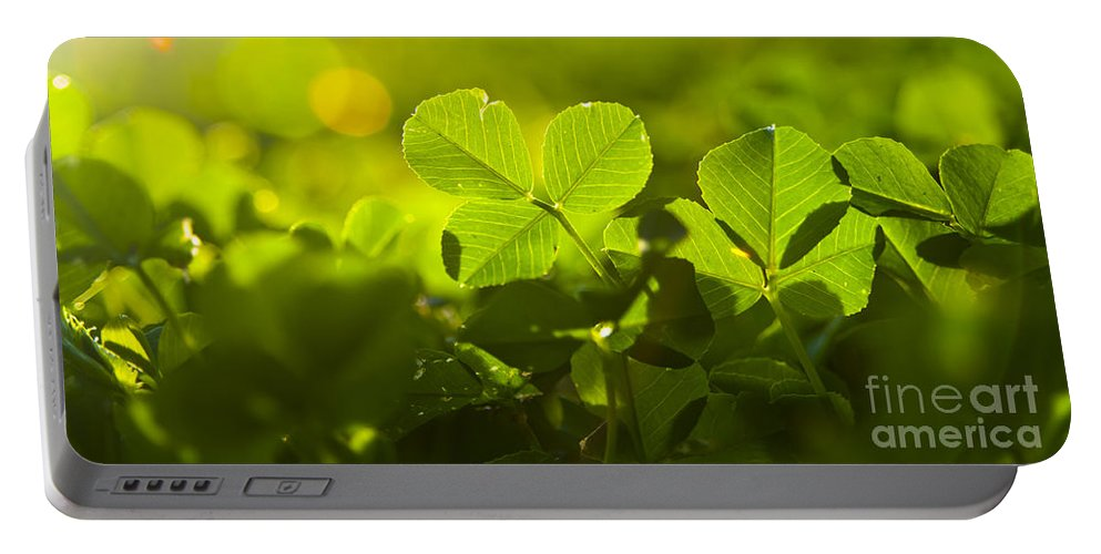 Abstract Portable Battery Charger featuring the photograph Greenery by Tim Hester