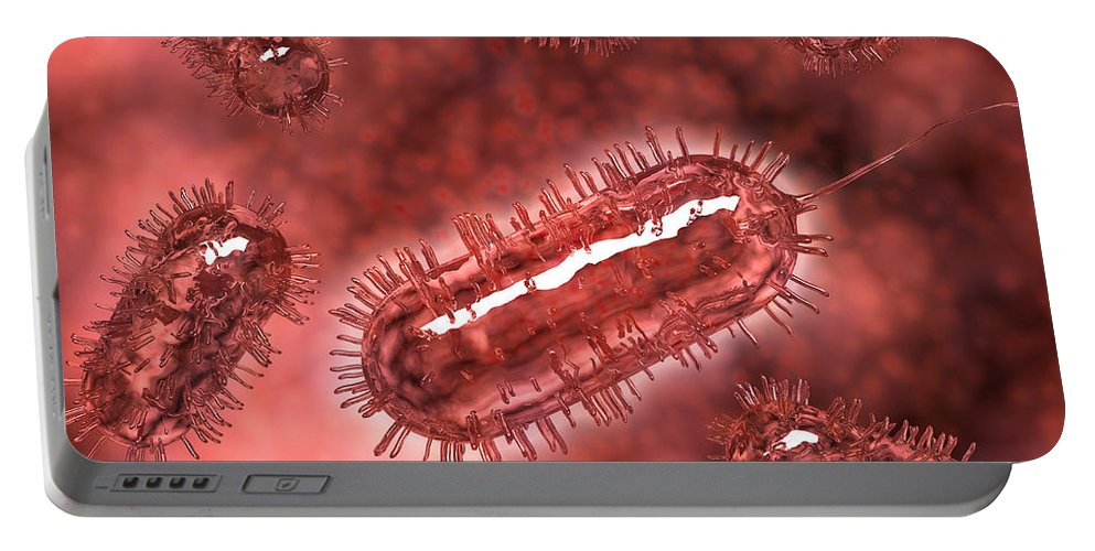 Red Portable Battery Charger featuring the digital art Group Of Escherichia Coli Bacteria by Stocktrek Images