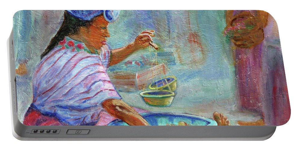 Figurative Portable Battery Charger featuring the painting Guatemala Impression Iv by Xueling Zou