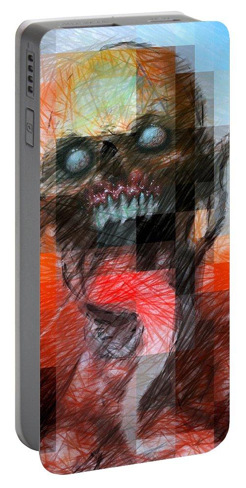 Halloween Portable Battery Charger featuring the digital art Halloween Mask by Rafael Salazar