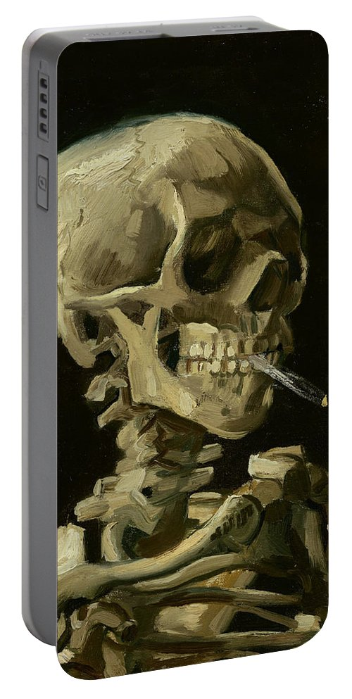 Vincent Van Gogh Portable Battery Charger featuring the painting Head Of A Skeleton With A Burning Cigarette by Vincent Van Gogh