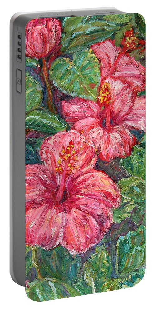 Hibiscus Portable Battery Charger featuring the painting Hibiscus by Kendall Kessler