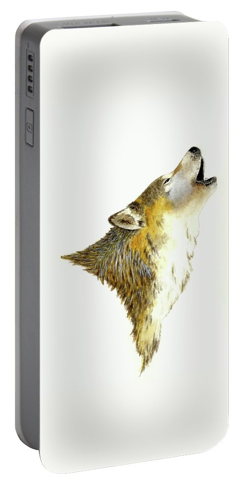 Animals Portable Battery Charger featuring the painting Howling Wolf by Michael Vigliotti