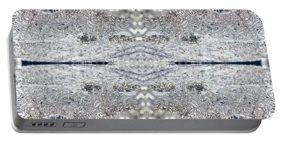 Mccombie Portable Battery Charger featuring the digital art Ice Storm Abstract by J McCombie