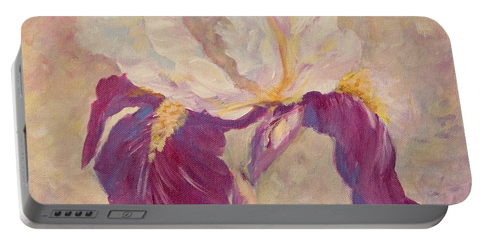 Iris Portable Battery Charger featuring the painting Iris by Jo Smoley