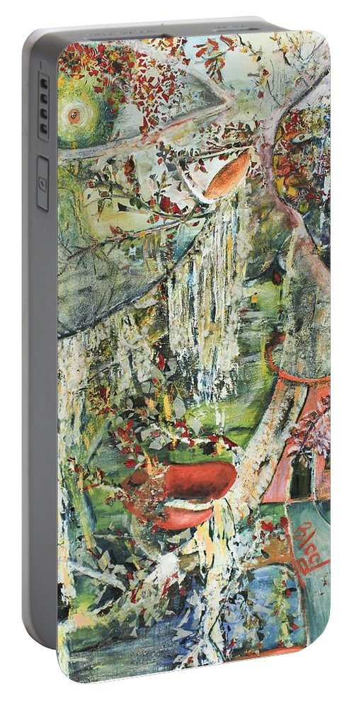 Landscape Portable Battery Charger featuring the painting Island Wonder by Peggy Blood