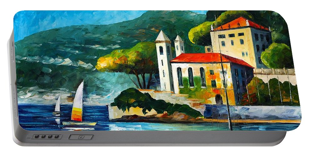 Afremov Portable Battery Charger featuring the painting Italy Lake Como Villa Balbianello by Leonid Afremov