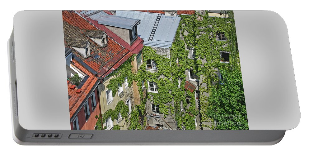 Innsbruck Portable Battery Charger featuring the photograph Ivy Courtyard by Ann Horn