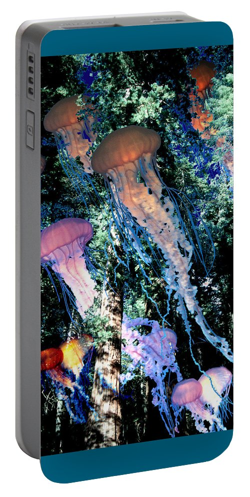 Jellyfish Portable Battery Charger featuring the digital art Jellyfish Forest by Lisa Yount