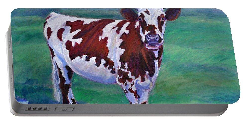 Cow Portable Battery Charger featuring the painting Jigsaw by Sylvina Rollins